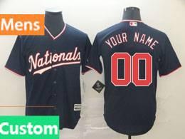 Mens Mlb Washington Nationals Custom Made Nationals Navy Blue Cool Base Jersey