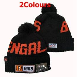 Mens Nfl Cincinnati Bengals Orange&black 100th New Sport Knit Hats 2 Colors