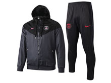 Mens 19-20 Soccer Paris Saint Germain Black Wind Coat And Black Sweat Pants Training Suit ( Zipper )