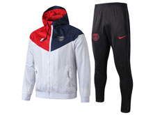 Mens 19-20 Soccer Paris Saint Germain White Wind Coat And Black Sweat Pants Training Suit ( Zipper )