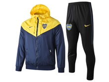 Mens 19-20 Soccer Atletico Boca Juniors Yellow Wind Coat And Black Sweat Pants Training Suit ( Zipper )