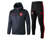 Mens 19-20 Soccer Flamengo Rj Black Wind Coat And Black Sweat Pants Training Suit ( Zipper )