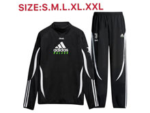 Mens 19-20 Soccer Juventus Club Black Training And Black Sweat Pants Training Suit ( High Collar )