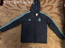 Mens 19-20 Soccer Real Madrid Club Dark Grey Zipper Winter Hooded