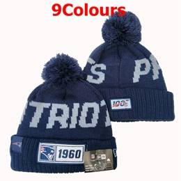 Mens Nfl New England Patriots Blue&red&gray 100th Sport Knit Hats 9 Colors