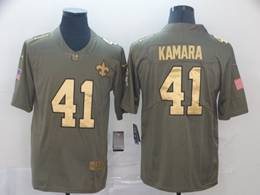 Mens Nfl New Orleans Saints #41 Alvin Kamara 2019 Green Olive Gold Number Salute To Service Limited Jersey