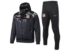 Mens 19-20 Soccer Corinthians Paulista Black Wind Coat And Black Sweat Pants Training Suit ( Zipper )