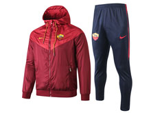 Mens 19-20 Soccer As Roma Club Red Wind Coat And Blue Sweat Pants Training Suit ( Zipper )