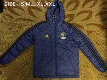 Mens 19-20 Soccer Manchester United  Blue Zipper Winter Hooded
