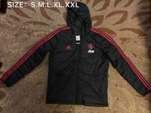 Mens 19-20 Soccer Manchester United  Black Zipper Winter Hooded
