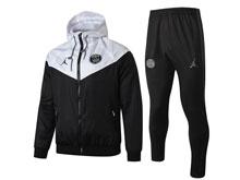 Mens Jordan 19-20 Soccer Paris Saint Germain Black White Wind Coat And Black Sweat Pants Training Suit ( Zipper )