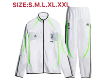 Mens 19-20 Soccer Juventus Club White Zipper Training And White Sweat Pants Training Suit ( High Collar )