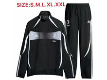 Mens 19-20 Soccer Juventus Club Black Zipper Training And Black Sweat Pants Training Suit ( High Collar )
