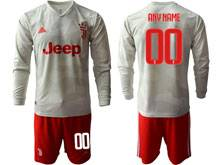 Mens 19-20 Soccer Juventus Club ( Custom Made ) Gray Away Long Sleeve Suit Jersey