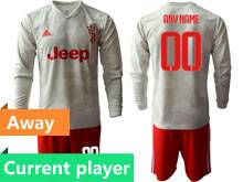 Mens 19-20 Soccer Juventus Club Current Player Gray Away Long Sleeve Suit Jersey