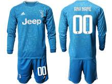 Mens 19-20 Soccer Juventus Club ( Custom Made ) Blue Second Away Long Sleeve Suit Jersey
