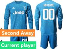Mens 19-20 Soccer Juventus Club Current Player Blue Second Away Long Sleeve Suit Jersey