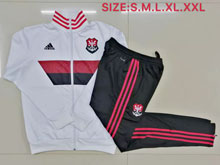 Mens 19-20 Soccer Flamengo Rj White Wind Coat And Black Sweat Pants Training Suit ( Zipper )
