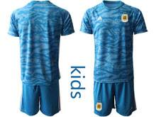Youth 20-21 Soccer Germany Ntaional Team ( Custom Made ) Blue Goalkeeper Short Sleeve Suit Jersey