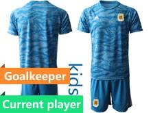 Youth 20-21 Soccer Germany Ntaional Team Current Player Blue Goalkeeper Short Sleeve Suit Jersey