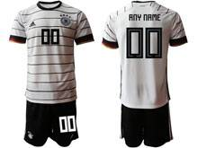 Mens 20-21 Soccer Germany Ntaional Team ( Custom Made ) White Home Short Sleeve Suit Jersey