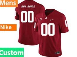 Mens Ncaa Washington State Cougars Custom Made Red Jersey
