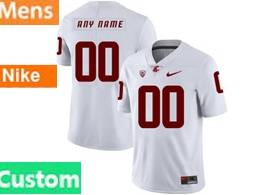 Mens Ncaa Washington State Cougars White Custom Made Jersey