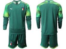 Mens 20-21 Soccer Italy National Team ( Custom Made ) Green Goalkeeper Long Sleeve Suit Jersey
