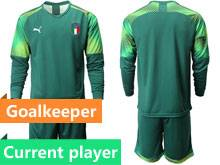 Mens 20-21 Soccer Italy National Team Current Player Green Goalkeeper Long Sleeve Suit Jersey