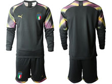 Mens 20-21 Soccer Italy National Team ( Custom Made ) Black Goalkeeper Long Sleeve Suit Jersey