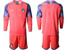 Mens 20-21 Soccer Italy National Team ( Custom Made ) Red Goalkeeper Long Sleeve Suit Jersey