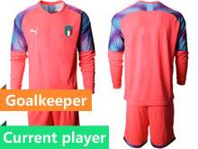 Mens 20-21 Soccer Italy National Team Current Player Red Goalkeeper Long Sleeve Suit Jersey