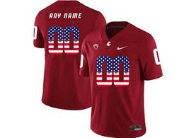 Mens Ncaa Washington State Cougars Current Player Red Usa Flag Jersey