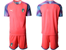 Mens 20-21 Soccer Italy National Team ( Custom Made ) Red Goalkeeper Short Sleeve Suit Jersey