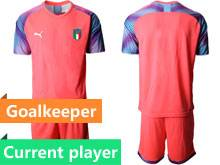 Mens 20-21 Soccer Italy National Team Current Player Red Goalkeeper Short Sleeve Suit Jersey