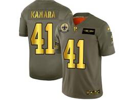 Mens Nfl New Orleans Saints #41 Alvin Kamara 2019 Green Olive Gold Number Salute To Service Limited Jersey