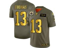 Mens Nfl New Orleans Saints #13 Michael Thomas 2019 Green Olive Gold Number Salute To Service Limited Jersey
