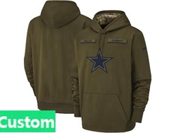 Mens Women Nfl Dallas Cowboys Custom Madegreen Olive Salute To Service Team Logo Performance Pullover Hoodie Jersey