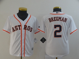 Women Youth Mlb Houston Astros #2 Alex Bregman White Cool Base Jersey