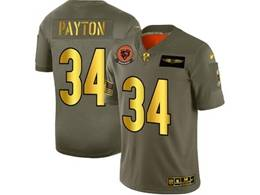 Mens Nfl Chicago Bears #34 Walter Payton 2019 Green Olive Gold Number Salute To Service Limited Jersey