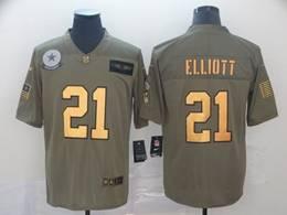 Mens Nfl Dallas Cowboys #21 Ezekiel Elliott 2019 Green Olive Gold Number Salute To Service Limited Jersey