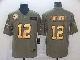 Mens Nfl Green Bay Packers #12 Aaron Rodgers 2019 Green Olive Gold Number Salute To Service Limited Jersey