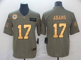 Mens Nfl Green Bay Packers #17 Davante Adams 2019 Green Olive Gold Number Salute To Service Limited Jersey