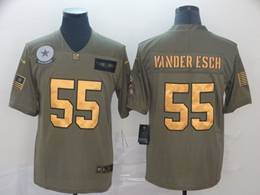 Mens Nfl Dallas Cowboys #55 Leighton Vander Esch 2019 Green Olive Gold Number Salute To Service Limited Jersey