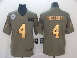 Mens Nfl Dallas Cowboys #4 Dak Prescott 2019 Green Olive Gold Number Salute To Service Limited Jersey