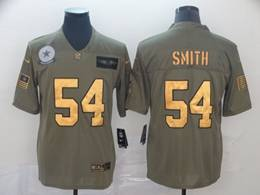 Mens Dallas Cowboys #54 Jaylon Smith 2019 Green Olive Gold Number Salute To Service Limited Jersey