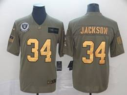 Mens Nfl Oakland Raiders #34 Bo Jackson 2019 Green Olive Gold Number Salute To Service Limited Jersey