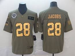 Mens Nfl Oakland Raiders #28 Josh Jacobs 2019 Green Olive Gold Number Salute To Service Limited Jersey