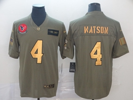 Mens Nfl Houston Texans #4 Deshaun Watson 2019 Green Olive Gold Number Salute To Service Limited Jersey