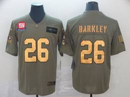 Mens Nfl New York Giants #26 Saquon Barkley 2019 Green Olive Gold Number Salute To Service Limited Jersey